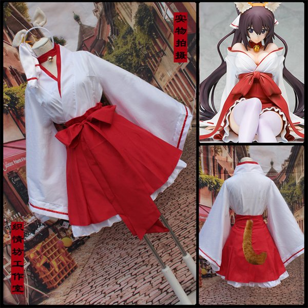 Popular Fancy Japanese Anime Witch Kimono Dress Cute Mini Skirt Miko Cosplay Costume With Tail For Women