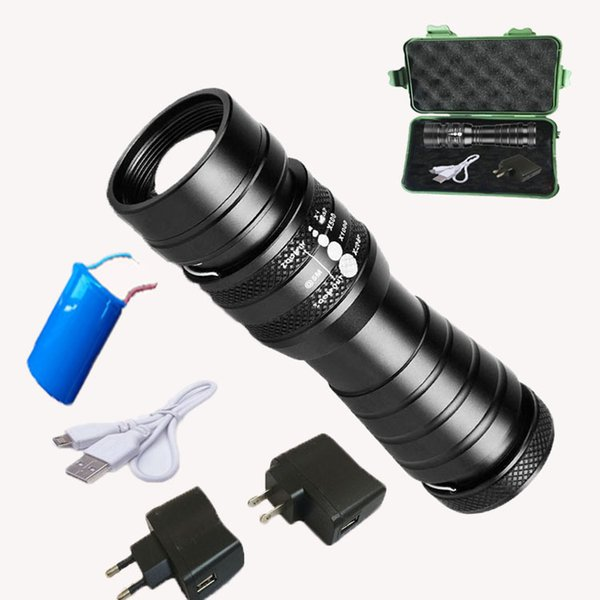 50Sets USB T6 High Power flashlight LED Torches Zoomable Tactical LED Hunting Flashlights torch light for 26650 battery with RETAIL BOX