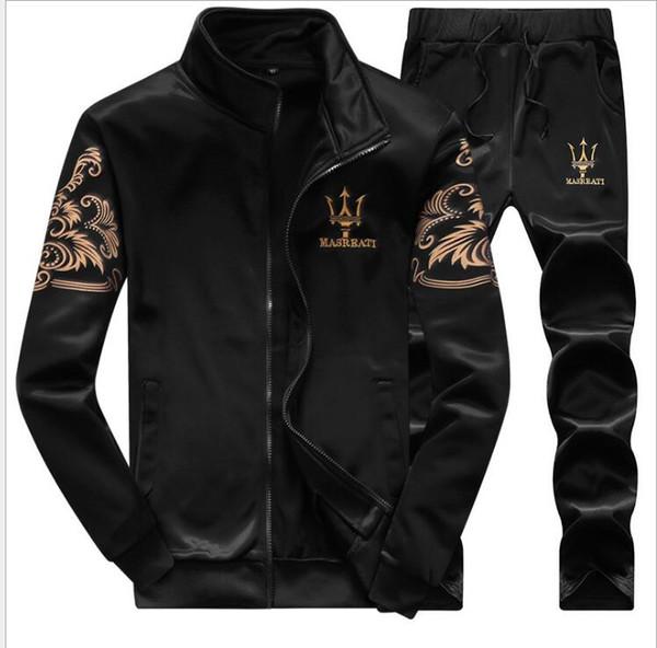 High Quality Sporting Suits Casual 2 Piece Set Mens Plus Size 4XL Tracksuits 2018 Autumn Patchwork Color Hoodies + Pants