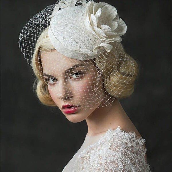 Nupcial do casamento Vintage Acessórios de cabelo Flower Tulle Birdcage Veil Headpiece véu cabeça 2,018 barato Mini Wedding Hat Bride