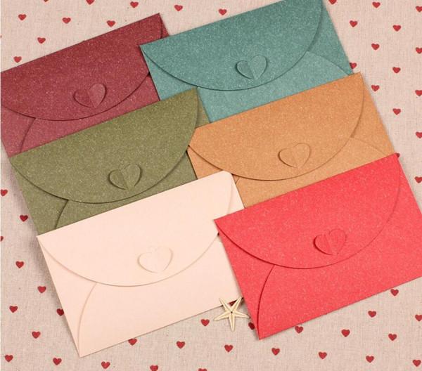 20Pcs/lot Retro Heart Clasp Small Colored Pearl Blank Mini Paper Envelopes Wedding Party Invitation Envelope DIY Gilt Envelope
