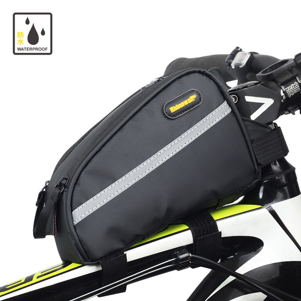 Cycling Bike Front Tube Outdoor Bicycle Bags 18.5x6.5x12cm e Waterproof Fabric Bicycle Frame Pouch Saddle Bag
