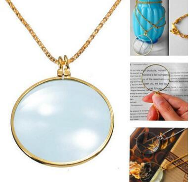 6x Magnifier Pendant Necklace Magnify Glass Reeding Decorative Monocle Necklace Worldbusiness(Gold,Silver)