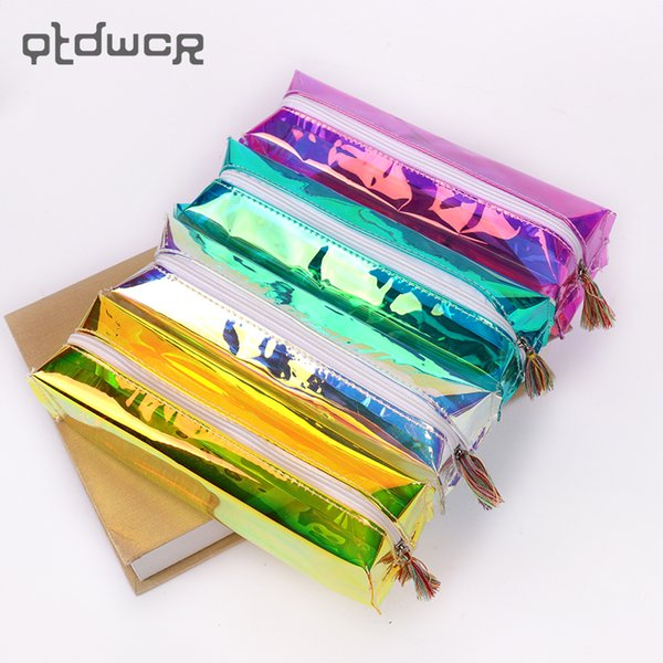Large Capacity PVC Laser Transparent Pencils Case Storage Organizer Pen Bags Pouch Pencil Bag School Supply Stationery