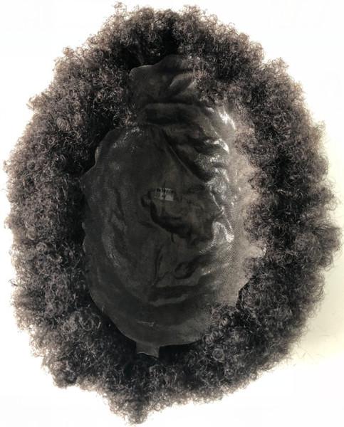 Super Full Thin Skin Afro Toupee Black Hair Unprocessed Brazilian Human Hair Afro Kinky Curl Full PU Toupee for Black Men Free Shipping!