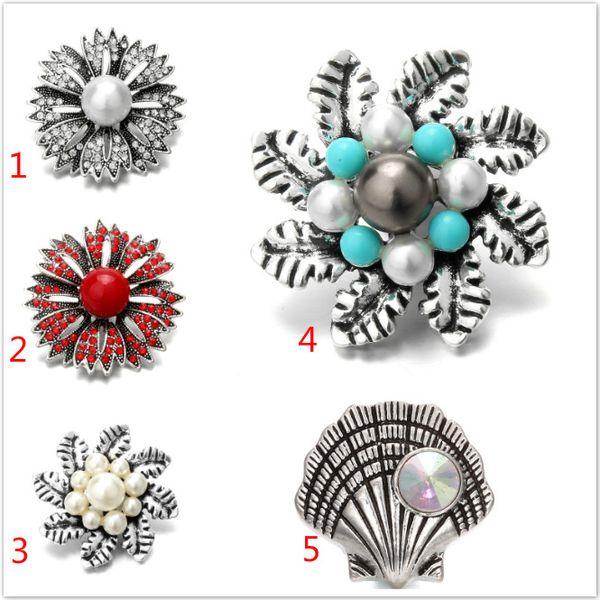18mm kristall blume perle druckknöpfen diy druckknopf noosa chunks armband halskette schmuck