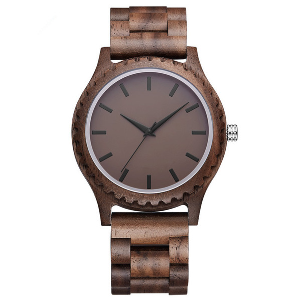 wholesale wood watch Natural Walnut Wood Watch Mens New Arrrival 2018 Handmade With Gray/Blue Face Clocks Male Quartz Wooden Wrist Watches