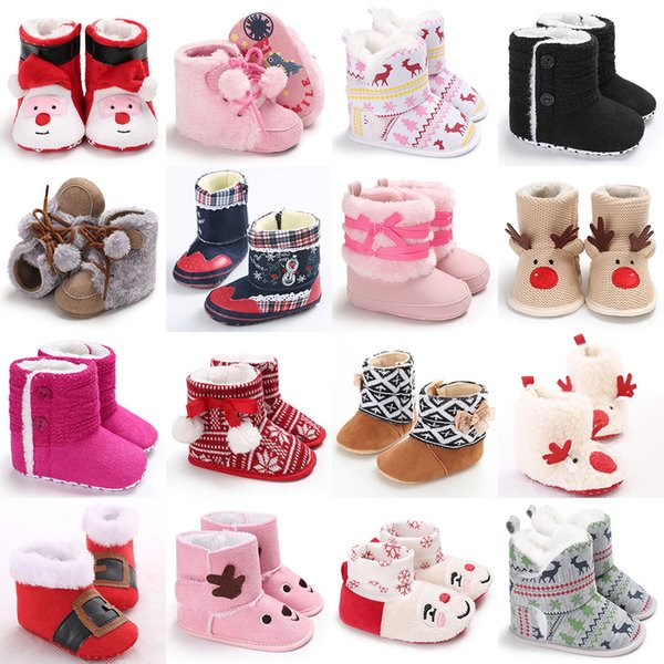 Kids winter Santa Claus elk Shoes infant Christmas deer snow boots Newborn Girls boys Xmas Boots Baby Toddler First Walkers 22 styles C4902