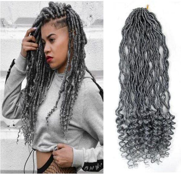 24 radici 18inch argento grigio dea faux locs ricci crespo trecce capelli ombre kanekalon sintetico dreadlocks estensioni dei capelli per le donne