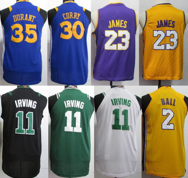 wholesale dealer e500f 0e83a 2018 2019 New Youth 23 Lebron James 11 Kyrie Irving 30 Stephen Curry Lakers  Jersey 2018 Purple Yellow White Black Blue Kids Basketball Jersey From ...