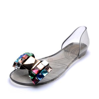 Summer jelly shoes non-slip crystal flat bottom rhinestone bow beach shoes transparent plastic shoes