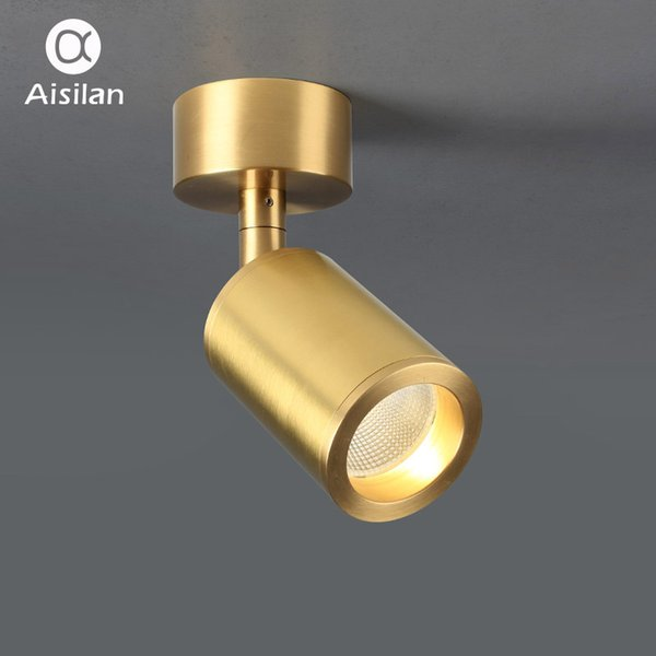 Projecteurs montés en surface en cuivre massif Aisilan Design nordique Doré LED Angle Réglable Plafond Spot Lights AC 90-260V