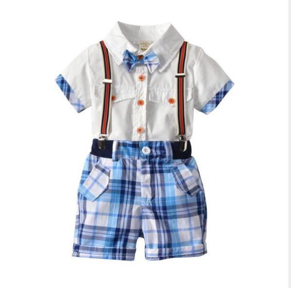 boys sets 2018 summer new styles Baby kids cute gentleman bow tie boys plaid bowtie shirt+plaid Gentleman's straps shorts 4 sets free ship