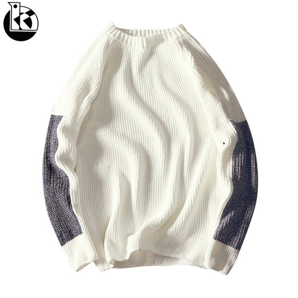 Autumn And Winter New Product Large Size Round Neck Loose Pullover Men Fashion Tide Brand Contrast Color Leisure Mens Sweaters