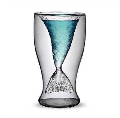 Mermaid Wine Glass Mermaid Tail Cocktail Glass Double Wall Wine Beer Whisky Coffee Cup Glassware Bar Tools