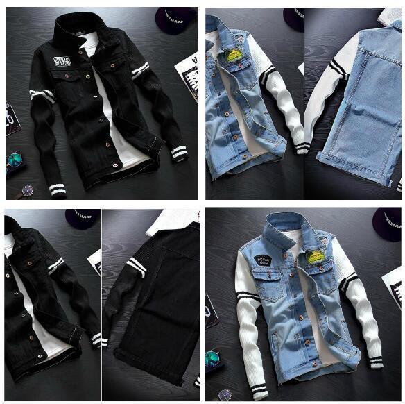 Men Knitted Sleeve Denim Jacket Embroidery Badges Embellished Mens Jean Jackets Korean Fashion Denim Coat Free Shipping Wholesal