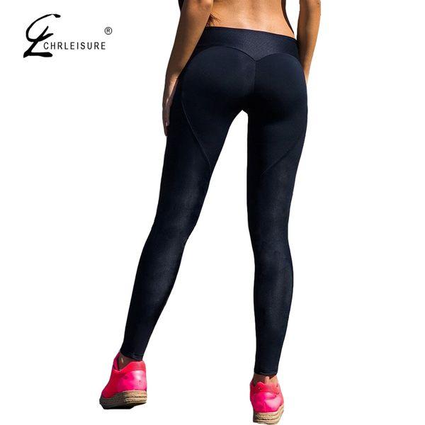 CHRLEISURE High Waits Push Up Leggings Women Workout Polyester Black Legging Summer Breathable Slim Legging Femme S-XL