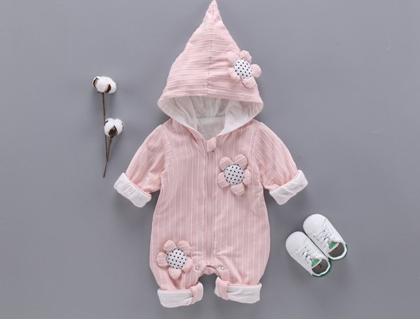 Baby girls stripe romper toddler kids stereo flowers applique princess jumpsuits inant girl hooded long sleeve zipper out wear rompers F1209
