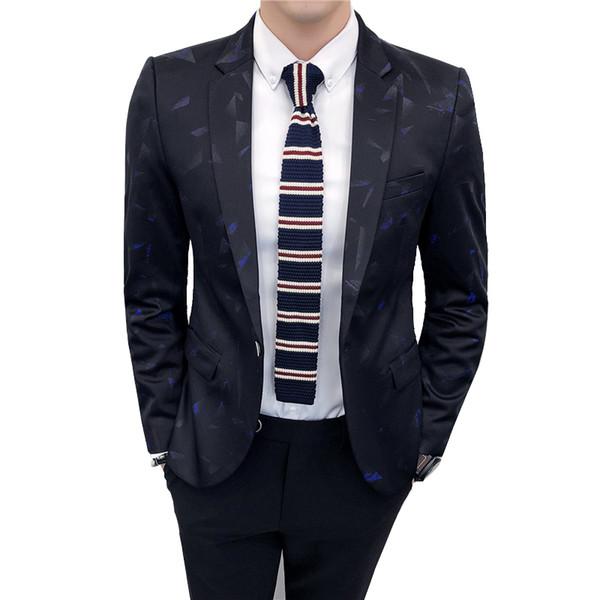 TFETTERS otoño coreano estilo para hombre Blazers patrón impreso Casual un botón de boda Slim Fit Blazers con estilo para hombres