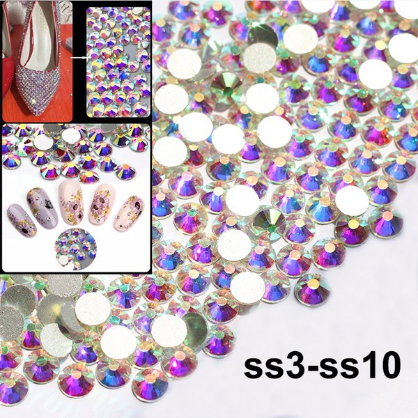1440 unids SS3-SS10 Flatback Crystal y AB Rhinestones para Nail Art Decoration Shoes And Dancing Dress Decoration