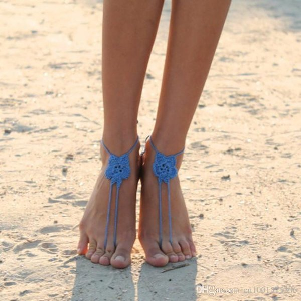 Crochet Barefoot Sandals, Yoga , Bellydance, Steampunk, Beach Pool party, Anklet, jewelry for the foot, Sky Blue Color..