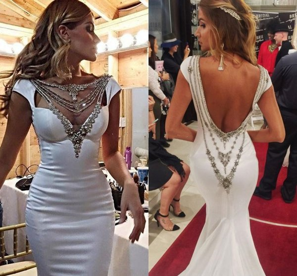 Hot Sale White Mermaid Formal Dress Evening Wear V Neck Beaded Cap Sleeve Sexy Backless Long Party Prom Gown Red Carpet Pageant Dresses