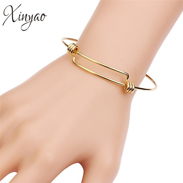 XINYAO 2Pcs/lot Adjustable Stainless Steel Wire Bangles Bracelet For Women Gold Silver Color Expandable Charm Bangles Jewelry