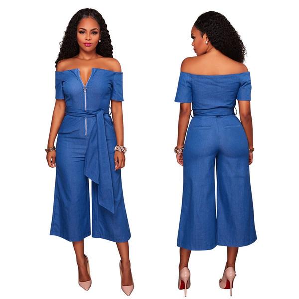 b977d8e28a1d 2018 Hot New Wide-leg Jean Jumpsuit for Women Fashion Sexy Off-shoulder  Rompers Short Sleeve Zipper Denim Jumpsuit