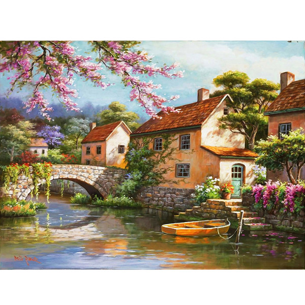 Frameless Countryside Landscape Diy Painting By Numbers Modern Home Wall Art Decor Kits Acrylic Paint For Living Room Artworks