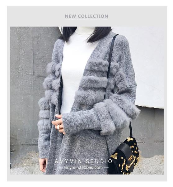 GTGYFF automne hiver rose kaki noir gris oversize lâche longue fourrure patchwork tricoté cardigan femmes cardigans pull veste top