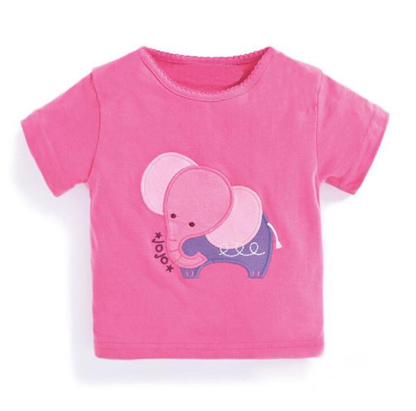 Menina Elefante Rosa T shirt Crianças Roupas de Algodão Verão T-Shirt Tripulação Pescoço Elefante Etiqueta Tops Crianças Tee
