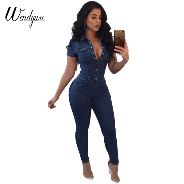 Wendywu Plus Size Good Quality Jeans Jumpsuit For Women Short Sleeve Fashion Bodysuit Rompers And Jumpsuits 2018 Denim Overalls