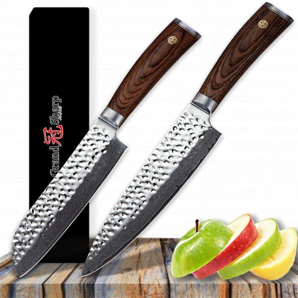 GRANDSHARP Damascus Kitchen Knives Chef Santoku Knife Set Vg10 Japanese  Damascus Stainless Steel Professional Kitchen Tools Gift Box Reviews Of ...