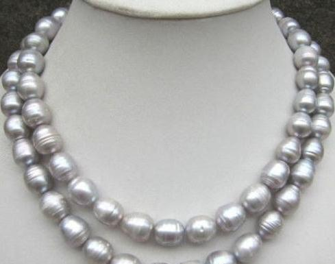 12-13mm Natural South Sea Gray Baroque Pearl Necklace 35 Inch 925 Silver Clacp