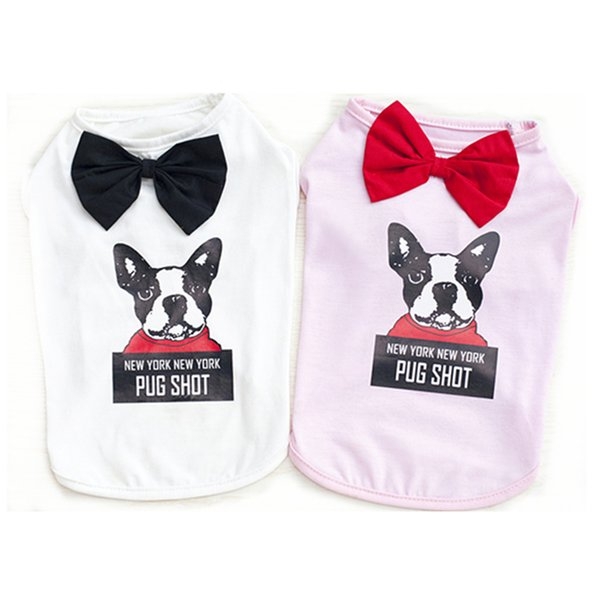 E35 New Summer Dog Vests with Bow tie Pet Puppy Cat Vest Coat Clothes Puppy Dog Cats T shirt Costume fashion s-xxl for dog vest