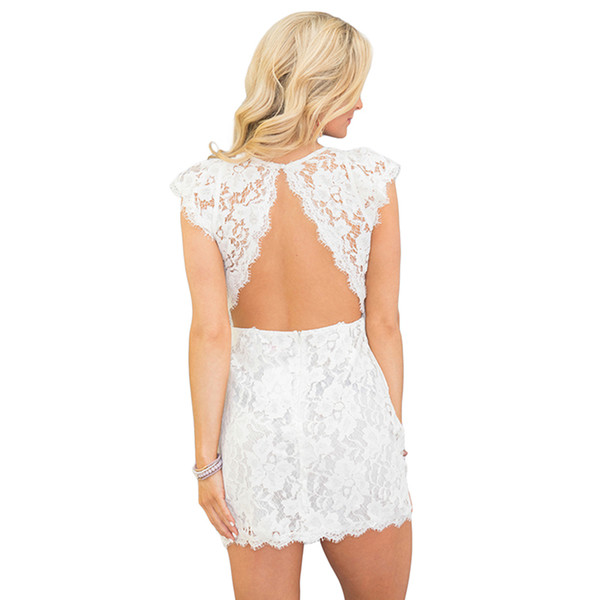 Justchicc Lace Dress Women 2018 Summer Backless Solid Short Sleeves Slim Party Sexy Elegant Mini Pencil Bodycon Dresses White
