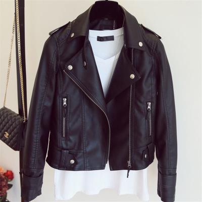 Weibliches 2018 neues Entwurfs-Frühlings-Herbst-PU-Leder-Jacke Faux-weiches Leder-Mantel-dünnes schwarzes Motorrad jaqueta de courro feminina