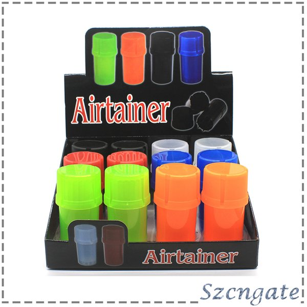 Newest Airtainer 2 in 1 Herb Grinder Container Herb Tobacco Storage Acrylic Bottle Style five color 0266214-1