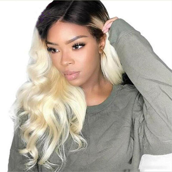 Blonde wig dark roots #1BT613 body wave texture 22 24 26inch fast ship middle part sew in full lace front lace wigs