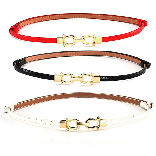 Belts For Women FashionWoman Girl Candy Colours Strap Leather Belt Waistband For Dress Shirt Leather Belt Women 2018 40AG30