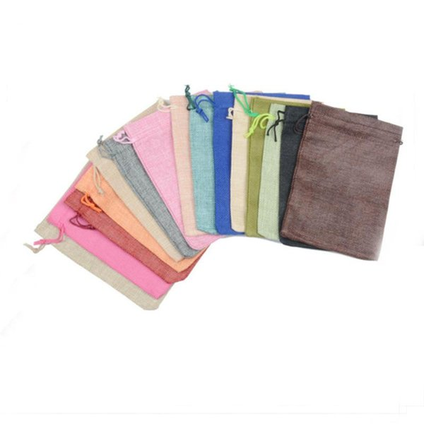 Undecided Unside Rope Pulling Linen Bundle Pocket Coffee Color Drawstring Bags Package Pouches Wedding Ceremony Gift 1 5rc ff