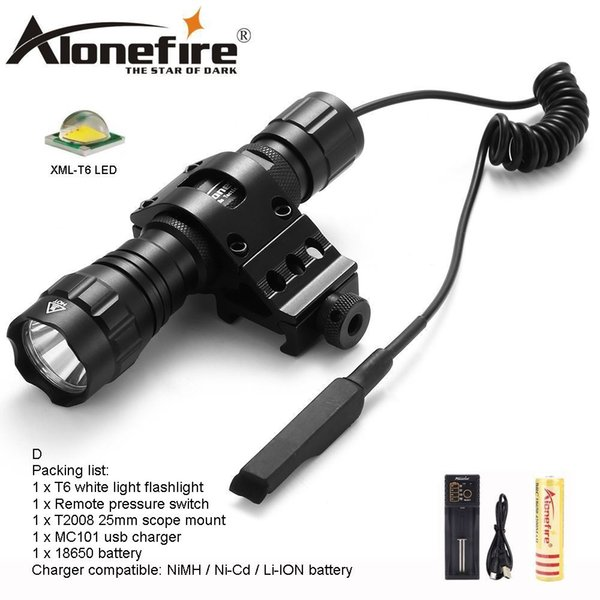 AloneFire 501Bs CREE XML-T6 LED Tactical Flashlight Torch Outdoor Light Tactical Mount Remote Switch for 1x18650 battery