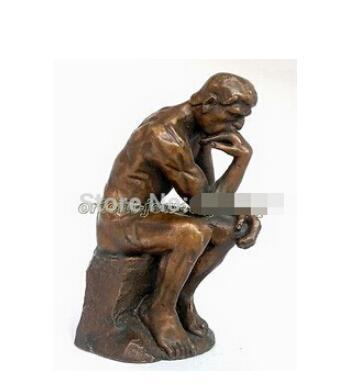 Collectible ! Vintage Rodin Pure Bronze Thinker Statue Art Deco