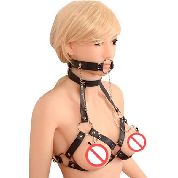 O Ring SM Bondage Rollenspiel Mundknebel Körpergeschirr PU Leder Brust Clips Fesseln Sex Spielzeug Für Frauen Nippelklemmen