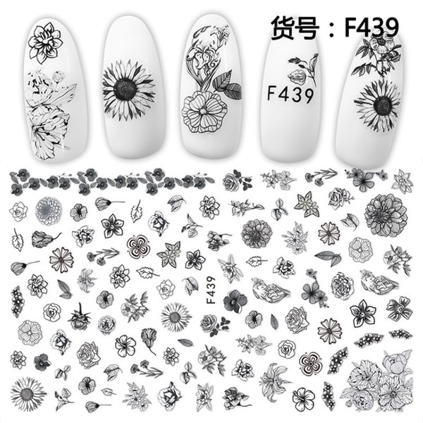 WiRinef Fashion Flowers Striping Nail Sticker Nail Art Tips Manicure Tools Beauty Art Decorations Decals