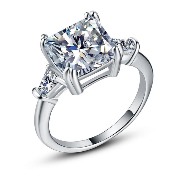Exquisite Diamonique Cz Wedding Jewelry 925 Sterling Silver Finger Ring For Bridal Engagement Gift Size 6-10 Drop Shipping