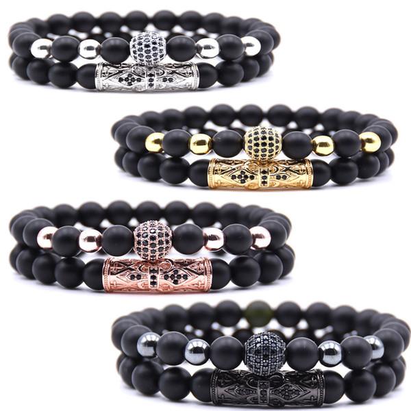 Fashion Black 8mm Beads Matte Bracelet Zircon Natural Stone Bracelet Set Charm Elastic Bangle For Women Jewelry Free DHL H808F