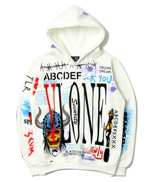 2018 VLONE Hoodie Hip Hop Marka Giyim Tops Bir $ AP V X Parçası Tasarım Hoody Graffiti Gevşek Erkekler Sokak Stili Kaykay Hoodies