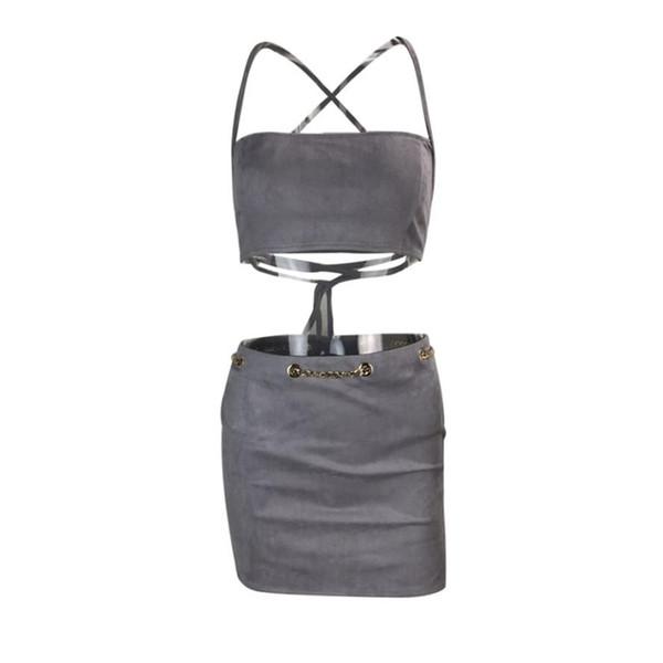 Casual nuovo modo della donna di estate Tuta sexy delle donne Bandage reggiseno superiore del tubo di Boob Fascia Mini Skirt Set Suit Donna 2 piece set Femminile