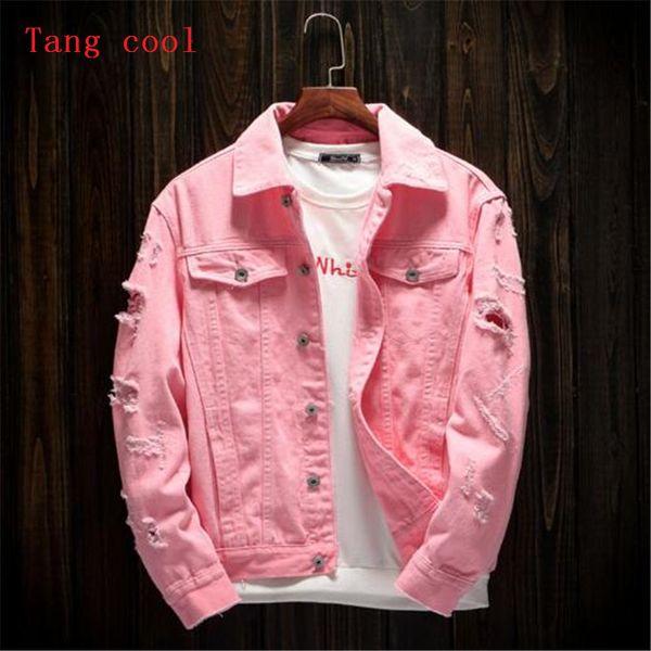 Tang serin 2018 bahar ve yaz yeni stil erkek delik gevşek kot uzun kollu ceket moda pembe siyah kırmızı ve beyaz ceket
